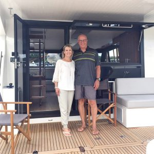 Jeff and Robin Lyall on their brand new Maritimo M59 cruising motor yacht
