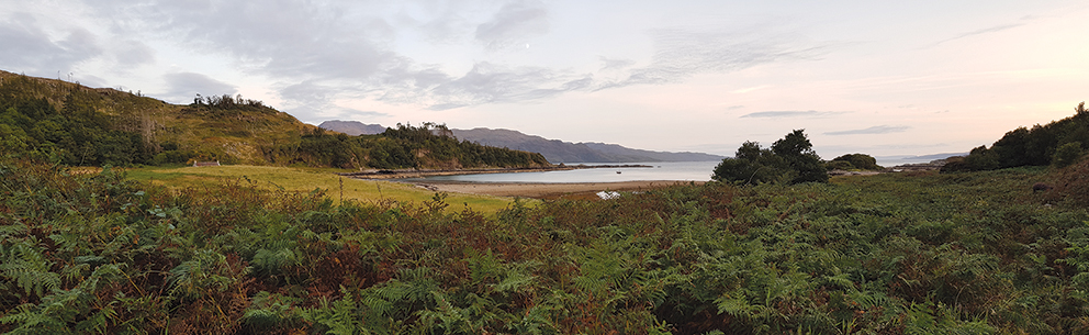 Once the home of Gavin Maxwell, the author of Ring of Bright Water, Sandaig Bay faces west looking across the Minch