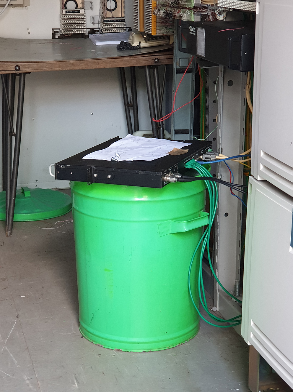 Microwave Transmitter taped to Garbage Can