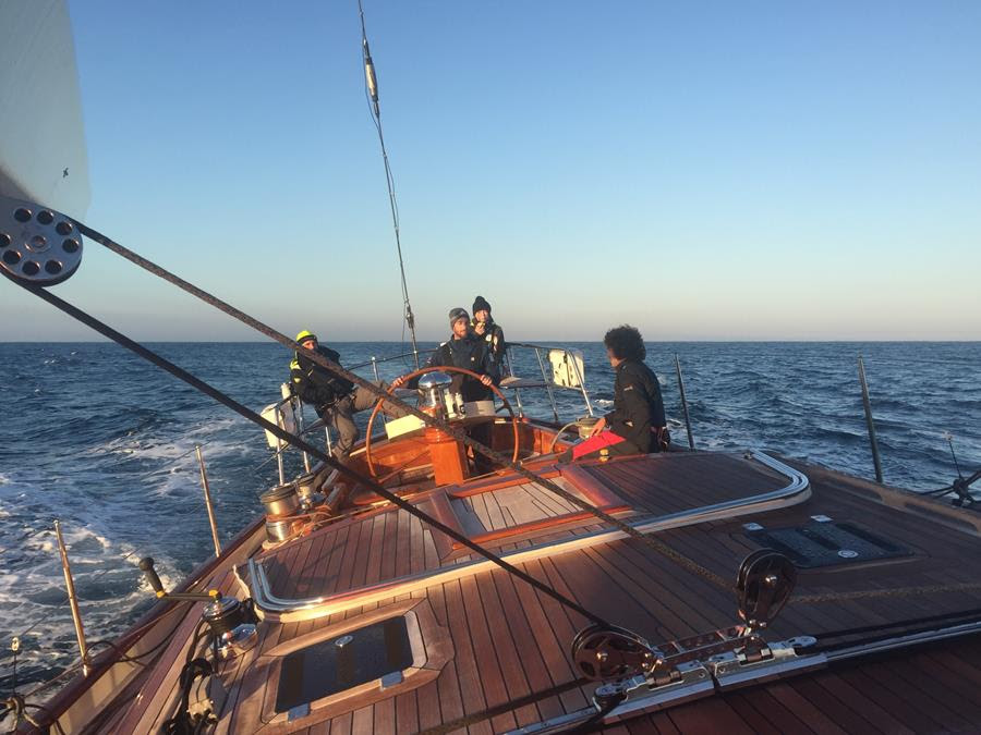 Onboard Oroton Drumfire as she streamed past Cape Byron