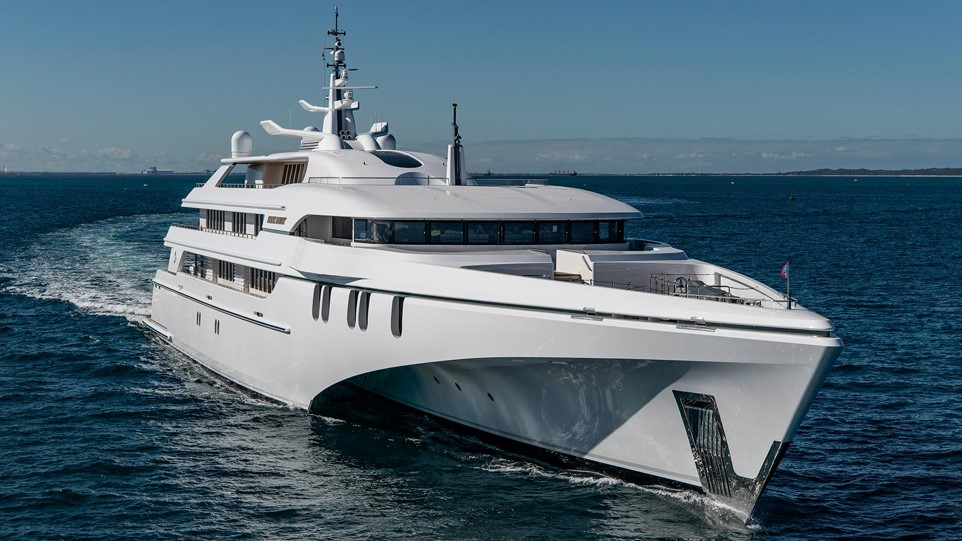 276ft superyacht trimaran WHITE RABBIT. She is the largest aluminium, and largest tri-hull superyacht in the world. Estimated to be valued at US$100 million.
