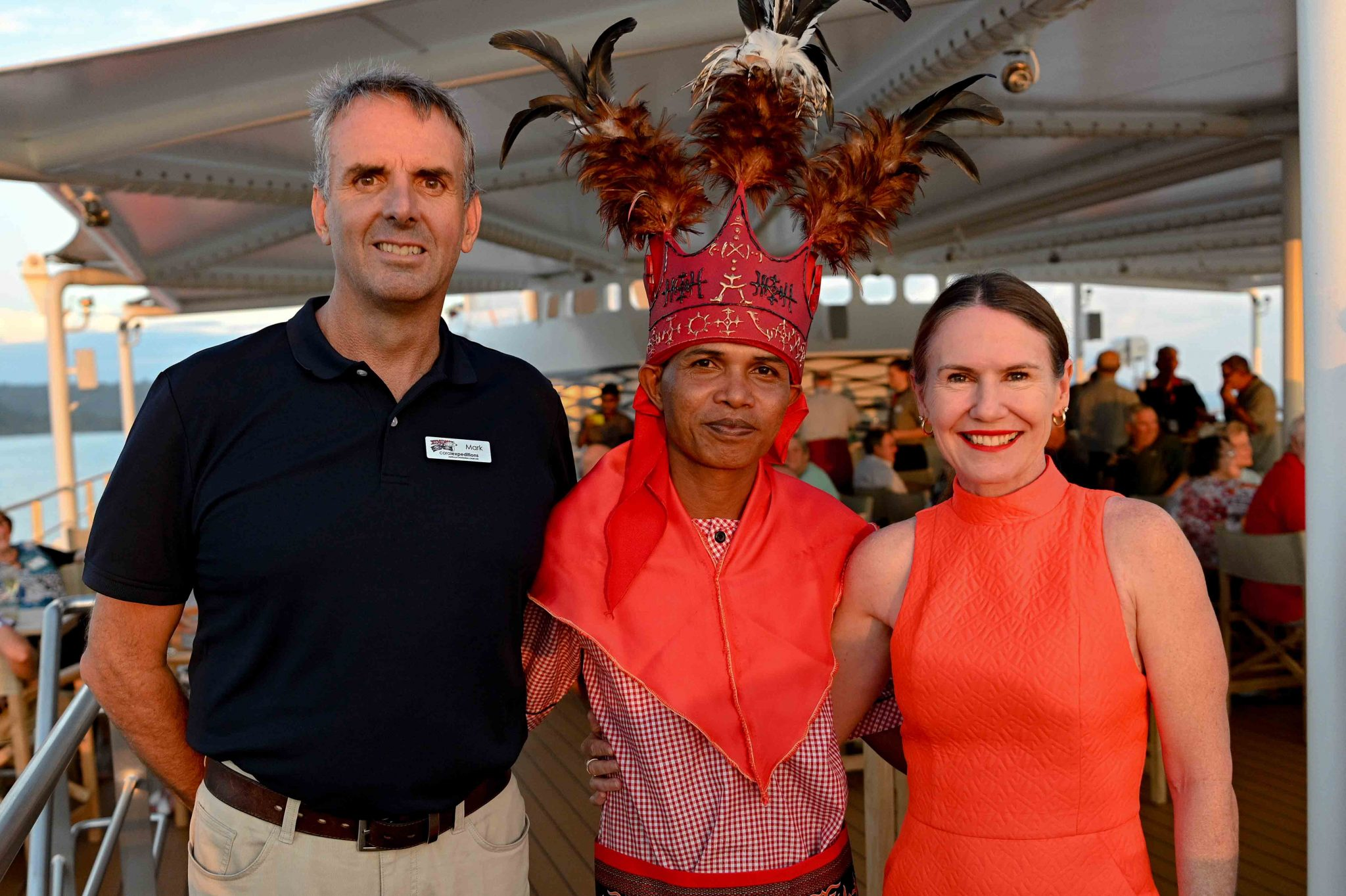 Mark Fifield and wife with King Saparua onboard Coral Adventurer