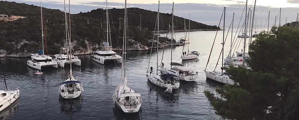 Snug moorings in Sesula on the island of Solta