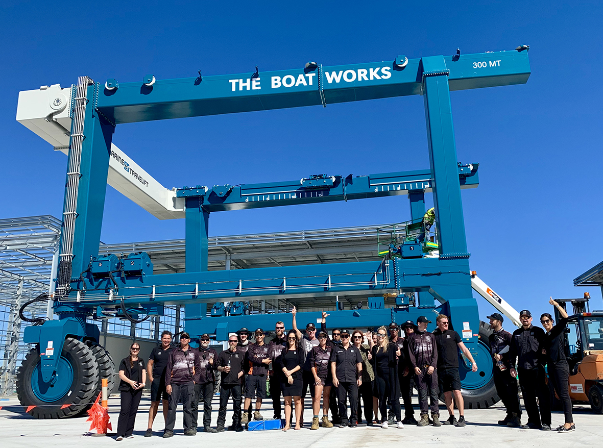 The Boat Works Crew and the new 300 Tonne Travelift