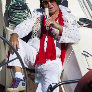Elvis is in the boat - check out the shoes