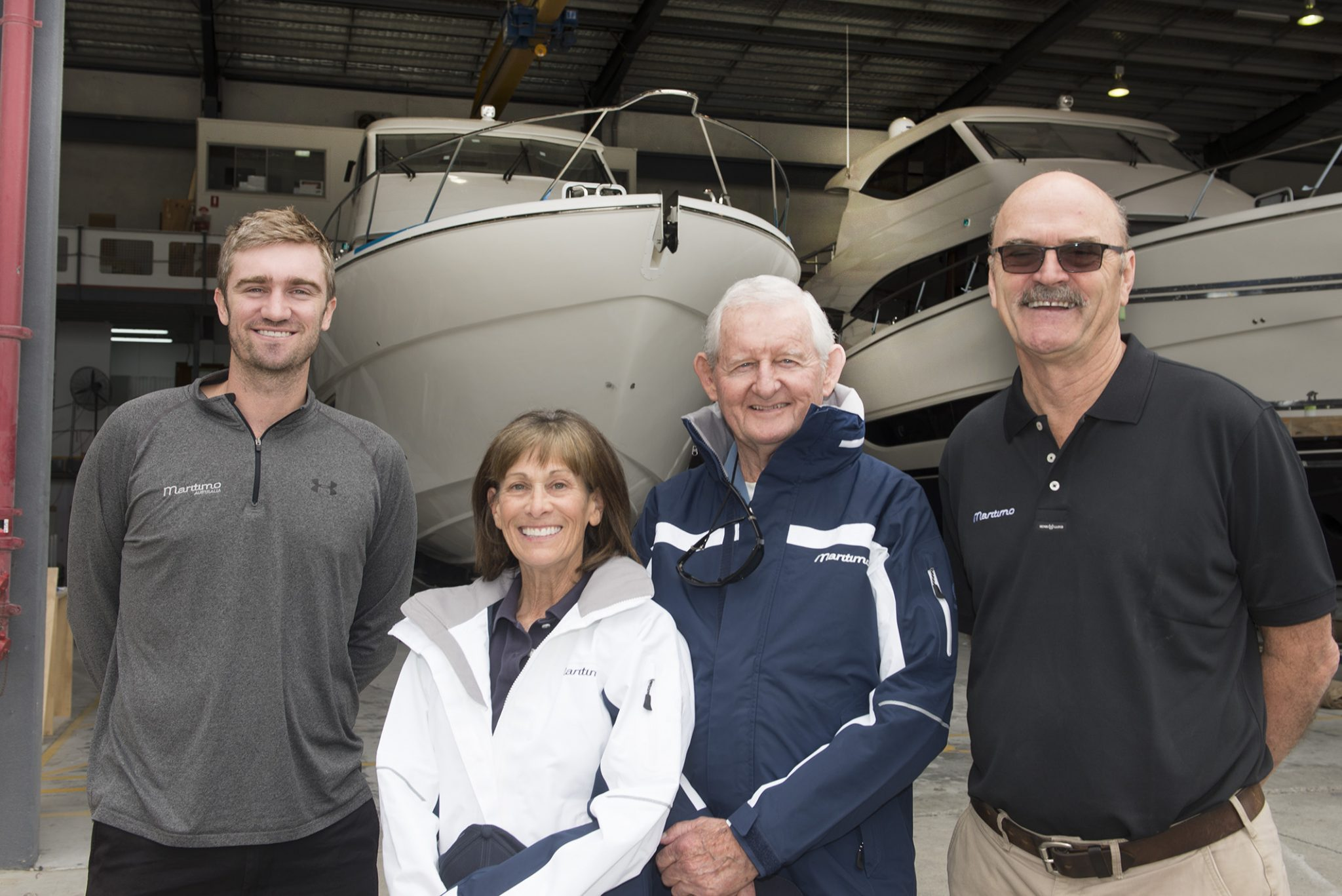 Tom and Beth with Maritimo's lead designer Tom Barry-Cotter and Operations Manager Phil Candler