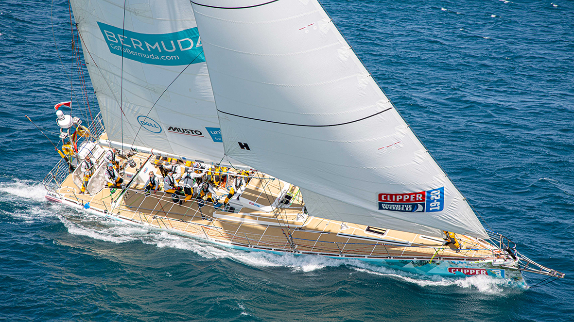 Clipper Race GoToBermuda completes the inshore course in the fickle winds under Table Mountain