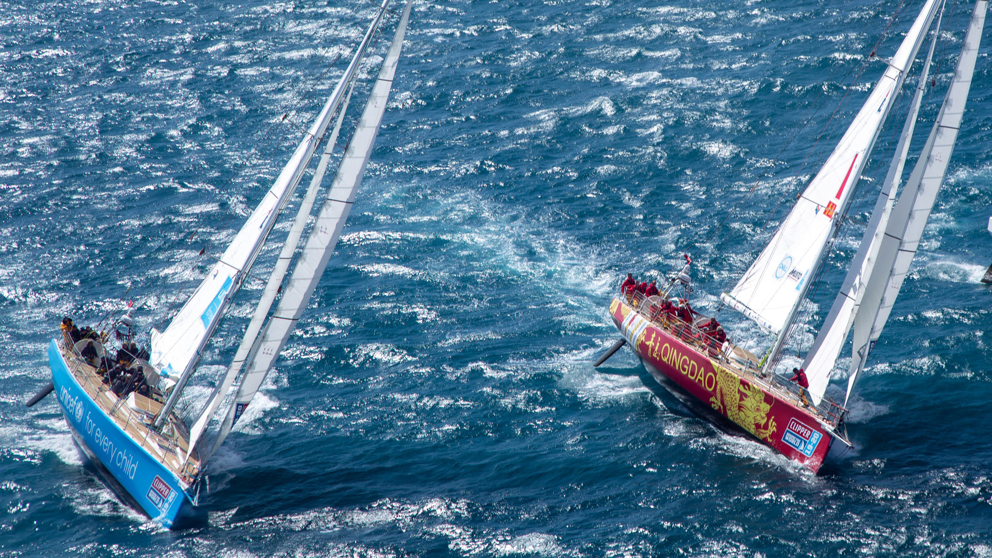 Clipper Race The Zhuhai and Ha Long Bay, Viet Nam team yachts battle it out on Table Bay, Cape Town