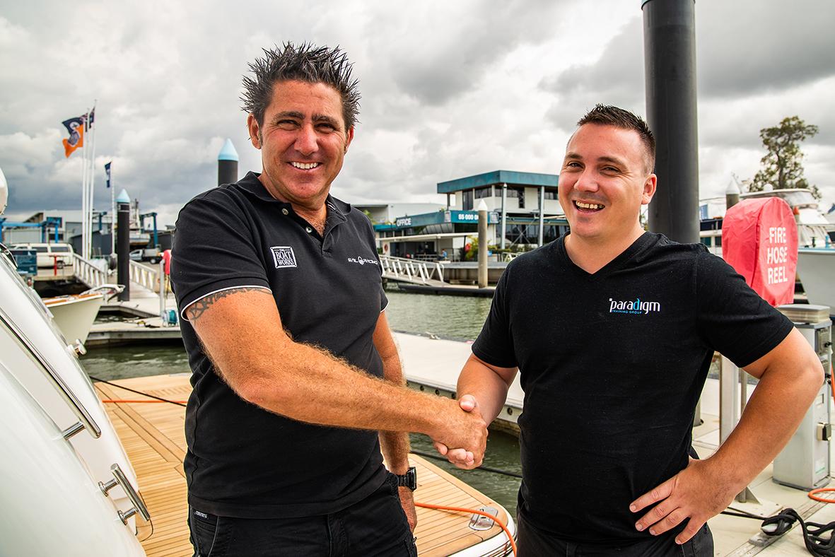 Boat Works' General Manager, Shane Subichin and Rikky Burkett, Paradigm Training