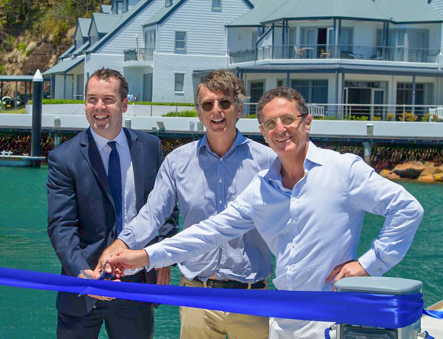 Grand Opening of the refurbished Anchorage Marina. Left to right Mayor Ryan Palmer Greg Shand and Allan Vidor