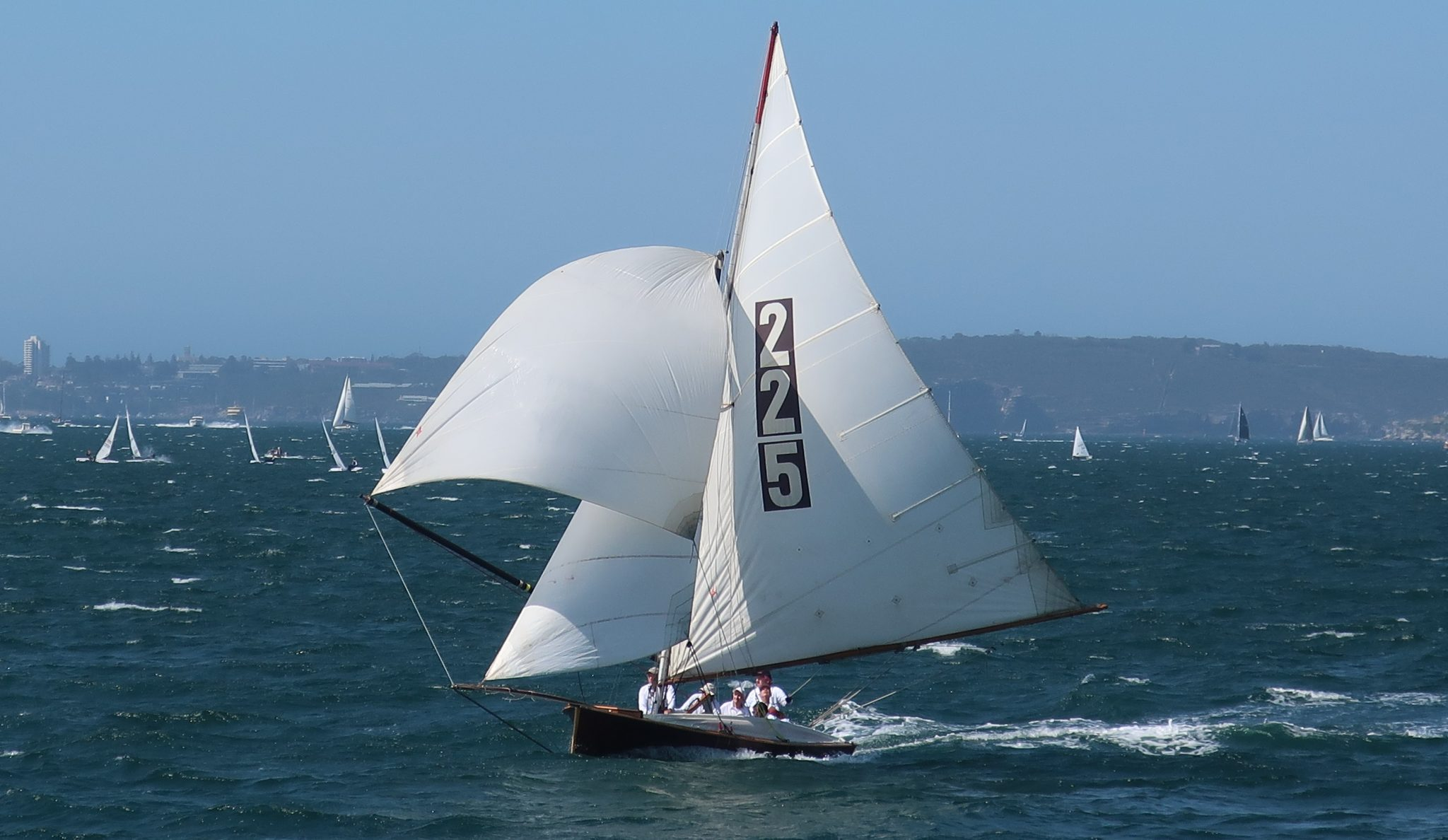 2020 Historical 18 Footer Australian Championship Race 3, The Mistake, small spinnaker on final run to finish off Clark Island