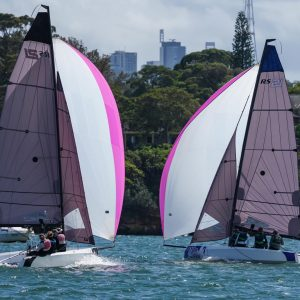 SAILING Champions League - SCLAPAC NQ downwind on day 2. Photo Beau Outteridge