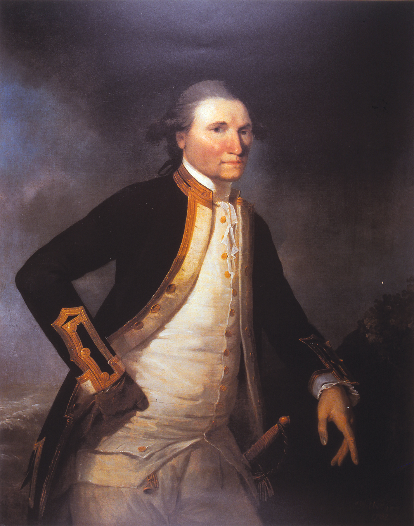 """This striking portrait by Captain Cook's shipmate John Webber captures a vivid image of Cook """"the seaman's seaman"""" as Captain Alan Villiers so accurately described him. The sunburned or """"sea-stained"""" visage and the pale forehead suggests he was a sea officer who kept his hat on. The glove on his right hand conceals a vivid red scar, the battle wound received in Canada when a powder horn exploded in his palm during an attack by French forces in the River St Laurence."""