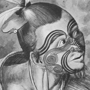 """These portraits of two Maori warriors produced by Sidney Parkinson probably show the men from Poverty Bay who visited Endeavour on October 12, 1769. Parkinson wrote in his journal: """"Most of them had their hair tied up on the crown of their heads in a knot … Their faces were tataowed, or marked either all over, or on one side, in a very curious manner, some of them in fine spiral directions like a volute, being indented in the skin very different from the rest."""