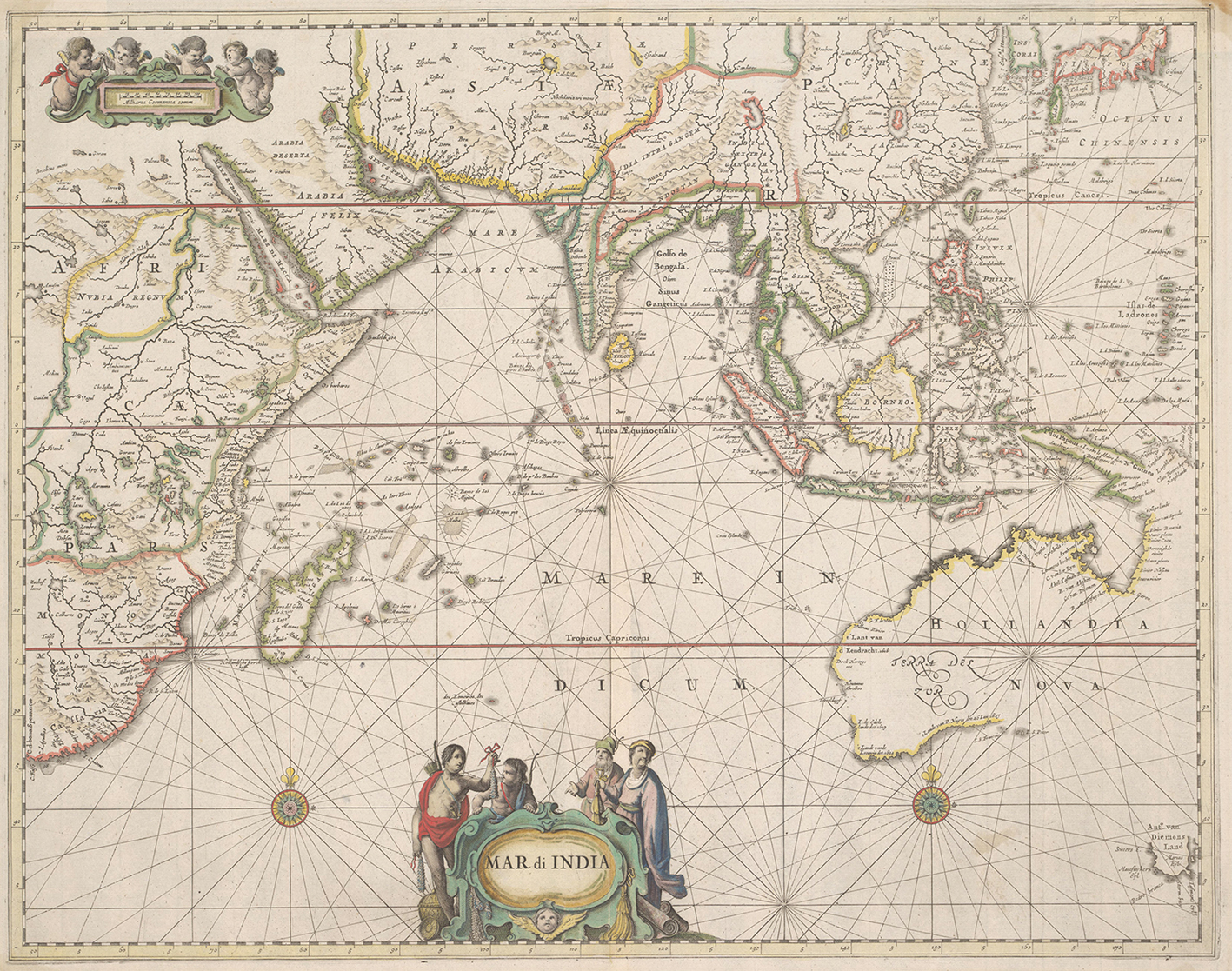 """Mar di India: Detail from The Sea Atlas by Hendrik Donker 1659 after Jan Jansson. Charts like this were included in Endeavour's Library. At the bottom of the chart, under a fanciful coastline, are the evocative words """"Promontorium Terra Australis"""" and """"Terra Australis Incognita"""", indicating the prevailing idea that a great southern continent must lie undiscovered at the bottom of the world. Mar di India does however show the recognisable shape of the western coast of Western Australia or Terra del Zur as it was then known to the Dutch."""