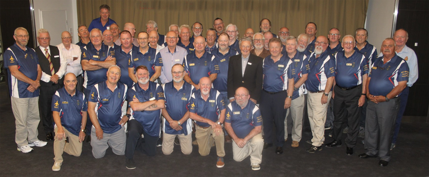 Meteorologist Malcolm Riley attends a Naval Meteorological Service reunion in Nowra NSW - Older, greyer and fatter but still a bunch of good guys. (The author 2nd left front row)