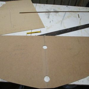 Scarborough Engineering River Launch - MDF templates are made every 400mm to transfer hull shape to station moulds.
