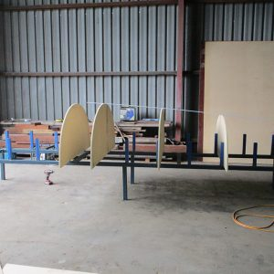 Scarborough Engineering River Launch - Station moulds are set up on steel jig assembly.