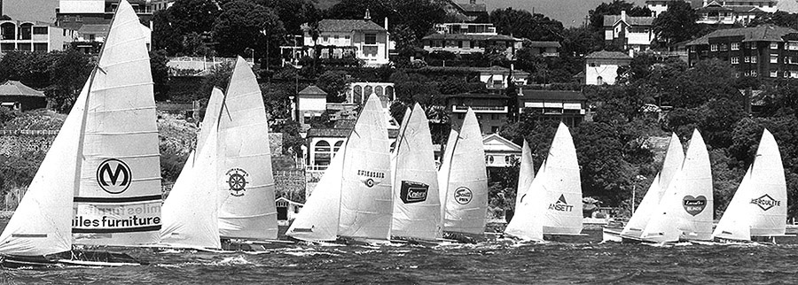 18ft Skiffs The Kulmar Family - Miles Furniture wins the start of a championship race in the 1974-75 Season