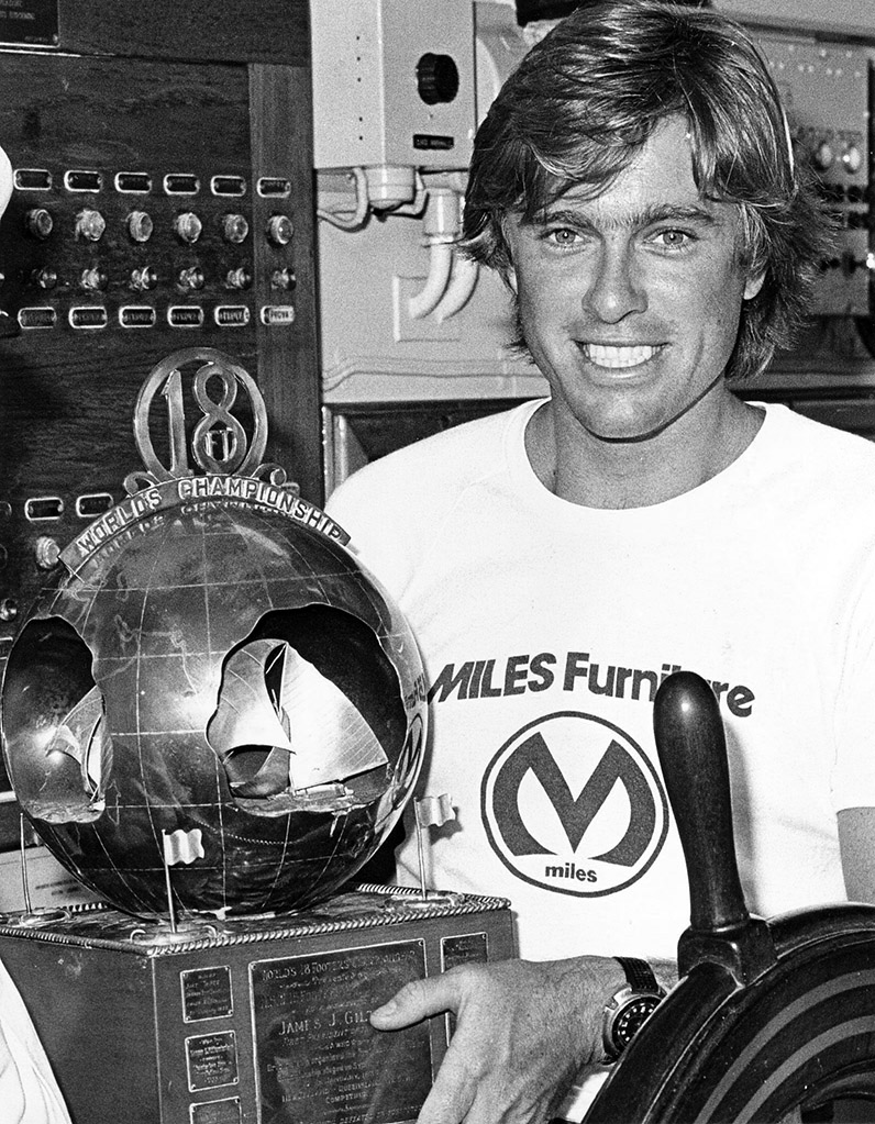 18ft Skiffs The Kulmar Family - Stephen Kulmar with the Giltinan Trophy after Miles Furniture victory in 1976