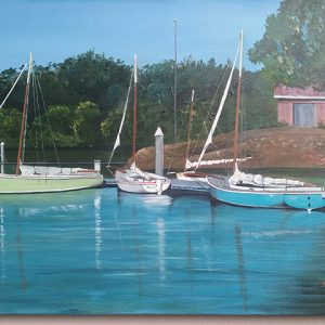 Regattas were cancelled as was the local tennis club at Hervey Bay so I took to a painting of Amity yachts moored at the QCYC marina awaiting the start of the regatta. Note artistic licence was used to create the shed in the backdrop rather than the old container. Keith Buhr