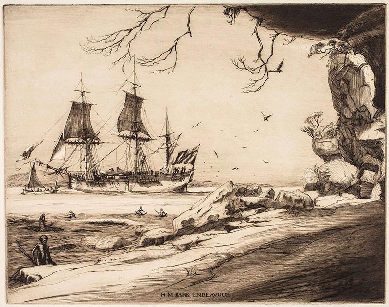 "H.M. Bark Endeavour, Botany Bay ""Welcome"" by Commander Geoffrey Ingleton RAN"