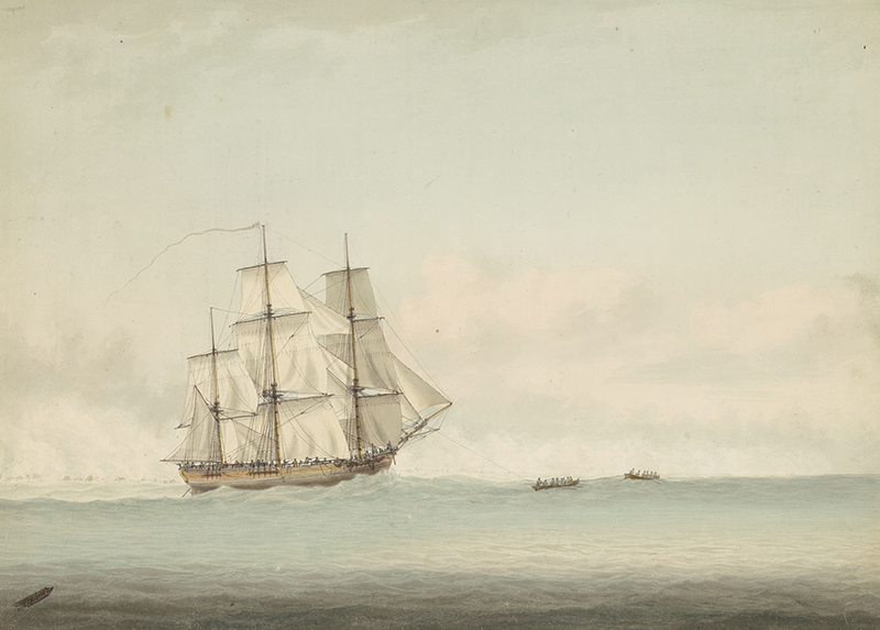 HMS (sic) Endeavour off the coast of New Holland, watercolour by Samuel Atkins, 1794. National Library of Australia collection