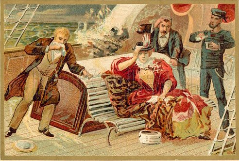 Passengers on a ship being given Ricqles mint spirit to cure their seasickness. Educational card, late 19th or early 20th century.
