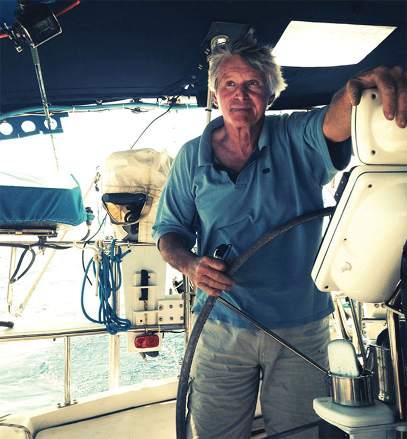 Raymarine PR Barry Stedman at the helm of the 50' S:V Imagine. Photo by Kathryn Ellis