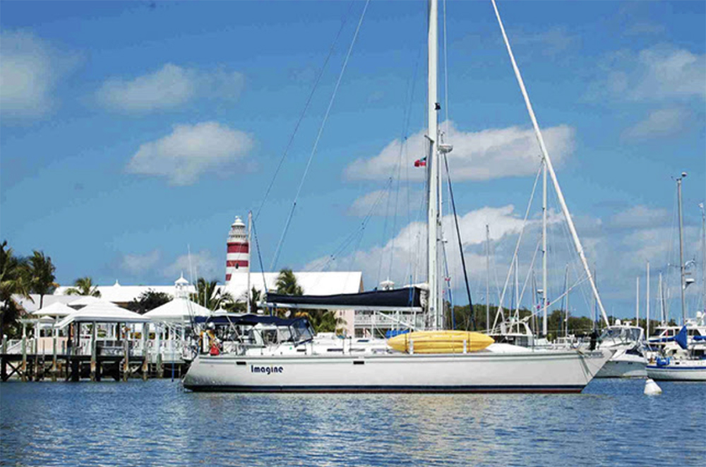 Raymarine PR S:V Imagine, safe in the calm waters of Hopetown Harbor. Photo by Barry Stedman