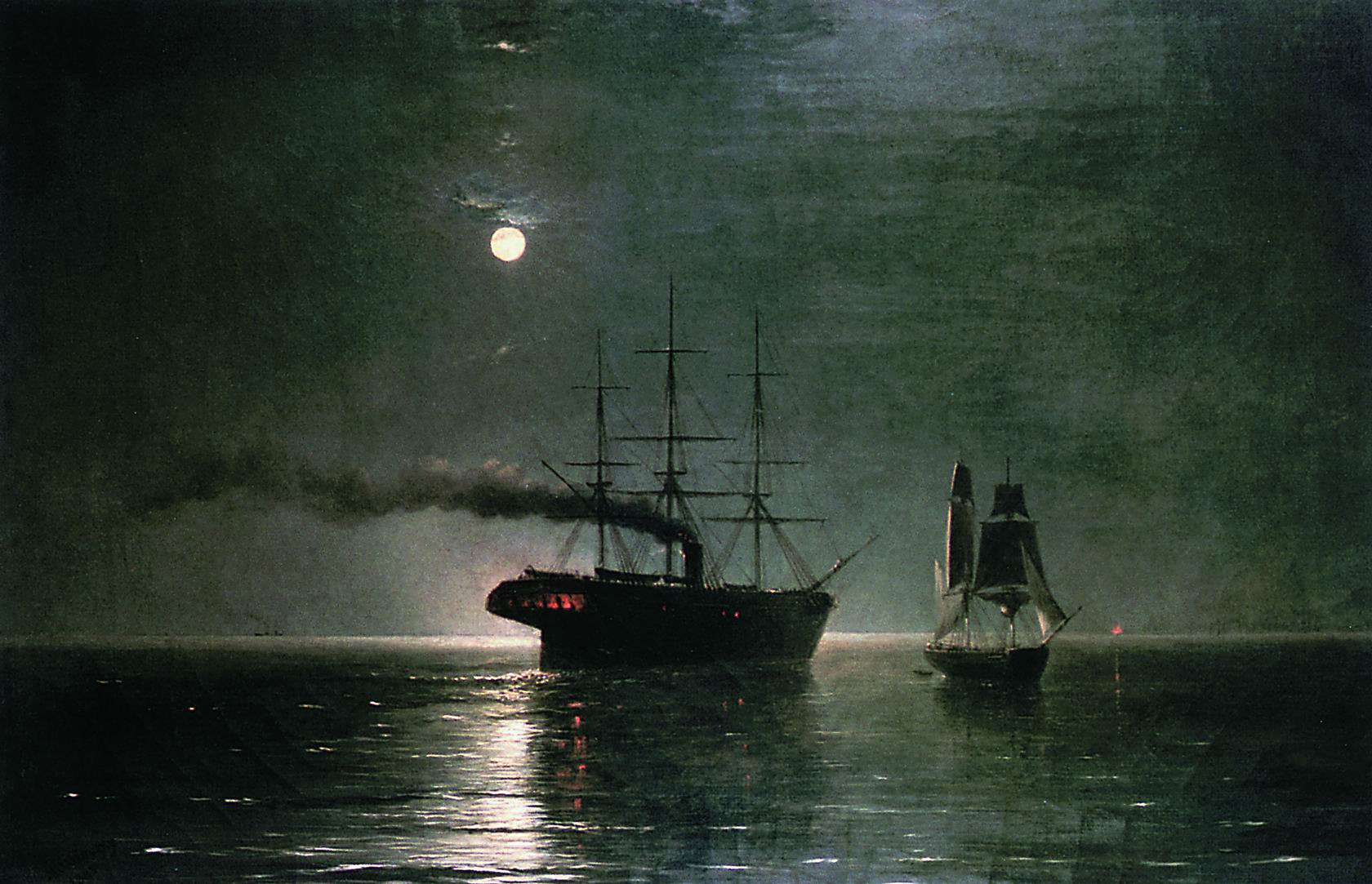 Ships in the stillness of the night by Ivan Aivazovsky 1888
