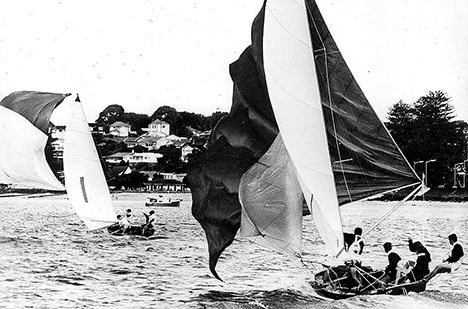 18 foot skiff The Fox chases series winner Schemer at the 1963 Giltinan world Championship in Auckland