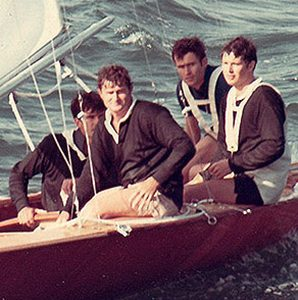 18 foot skiff The Thomas Cameron crew relax after winning another championship race