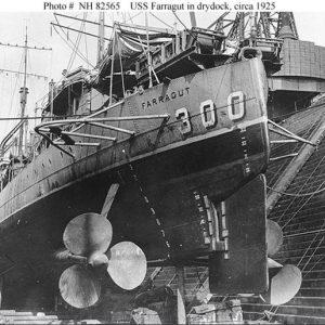 USS Farragut in dry dock