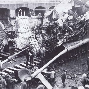 USS Manley in dry dock showing damage to stern