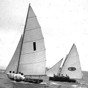 18ft Skiffs 1949-1950 Australian champion Culex III (Lance Watts) and Myra Too during the 1951 Giltinan world Championship on Sydney Harbour