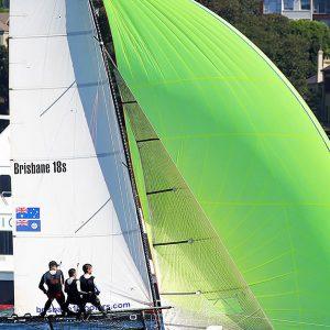 18ft Skiffs Dave Hayter at the 2019 JJs on Sydney Harbour
