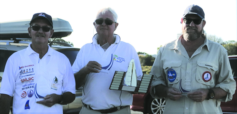 RC DF95 Championship Prize Winners Laurie Hinchcliff (PRYC) second, Alan Walker (PRYC) first overall and Hank Beyer (FTRYC - NSW) third