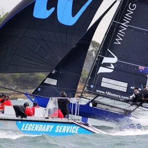 AeroMedia video team get as close to the action as possible to catch Winning Group on a flying spinnaker run