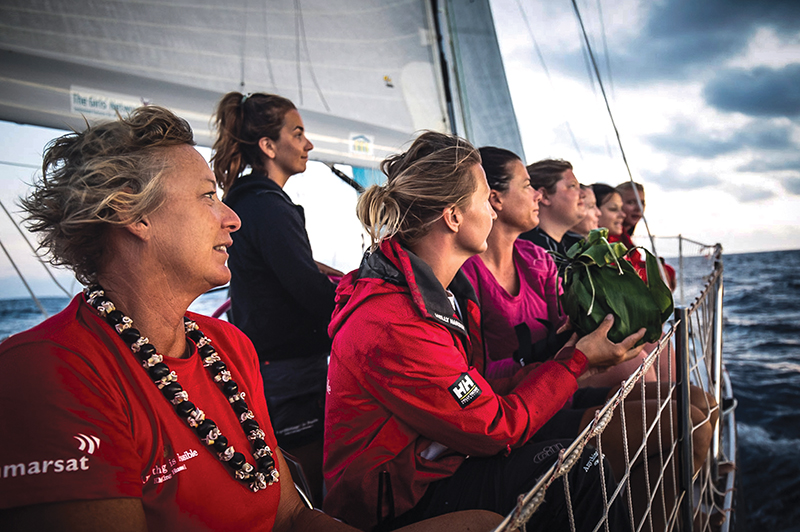 Maiden leaves Hawaii at dawn following an emotional leaving ceremony by local women, blessing the boat and all her sail on her. Photo Amalia Infante, The Maiden Factor
