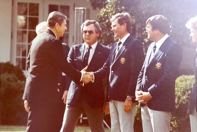 Ronald Reagan and Australian America's Cup Team at The White House
