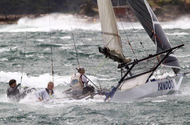 18ft Skiffs attempt race start in 40 knot winds