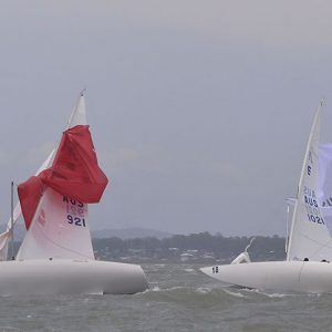 2020 Etchells Chinese take away for two - Waterloo Too (Red) and Stand In Line (White) both Chinese Gybe immediately after the finish of Race Four_1549