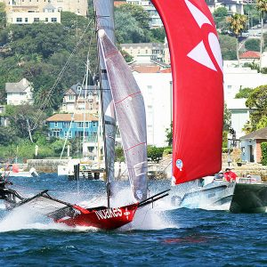 Noakesailing races the Australian 18 Footer League's video team boat to another victory on Sydney Harbour