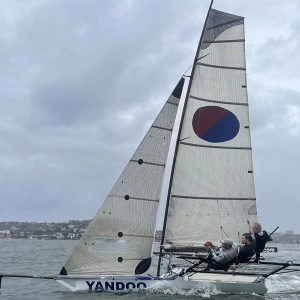 Yandoo led the fleet for much of today's Queen of the Harbour race (photo by Jessica Crisp)