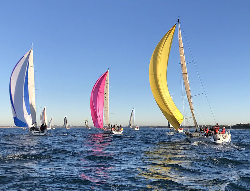 A spinnaker start with Alien in yellow up there with them. Photo Pavel Cherepanov