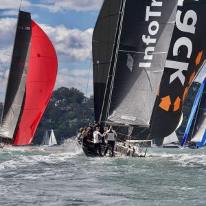 Day 1 in Pittwater produced fast downwind runs in fresh WSW_credit Tilly Lock Media