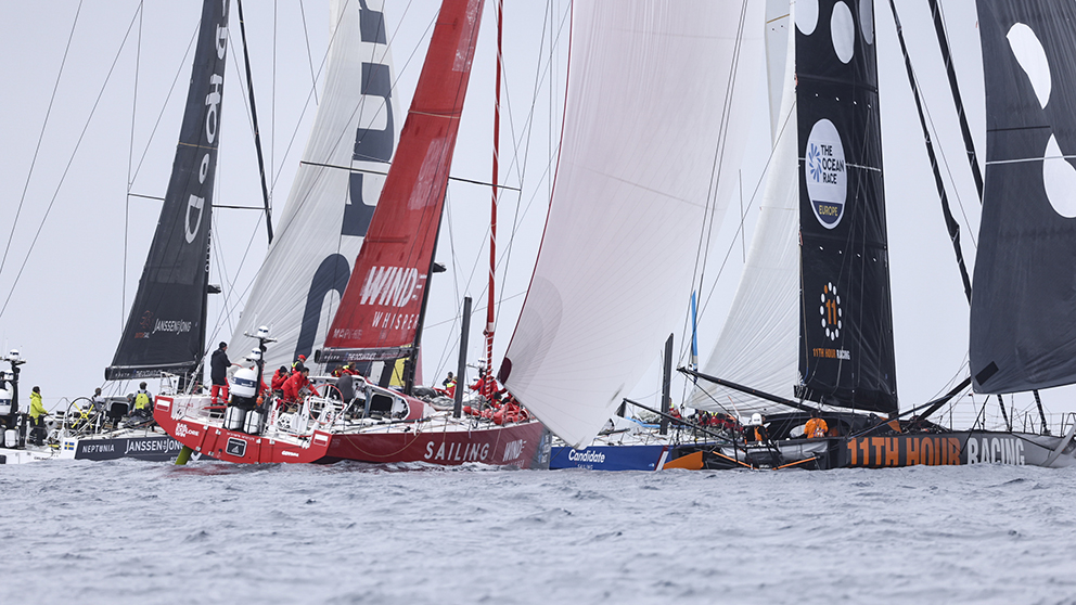 The finish of Leg One of The Ocean Race Europe from Lorient, France to Cascais, Portugal.