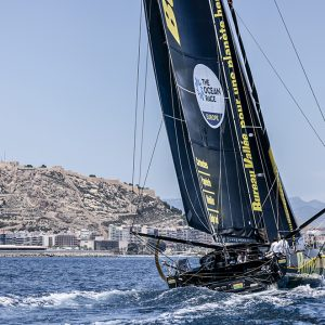 The finish of Leg Two of The Ocean Race Europe, from Cascais, Portugal, to Alicante, Spain.