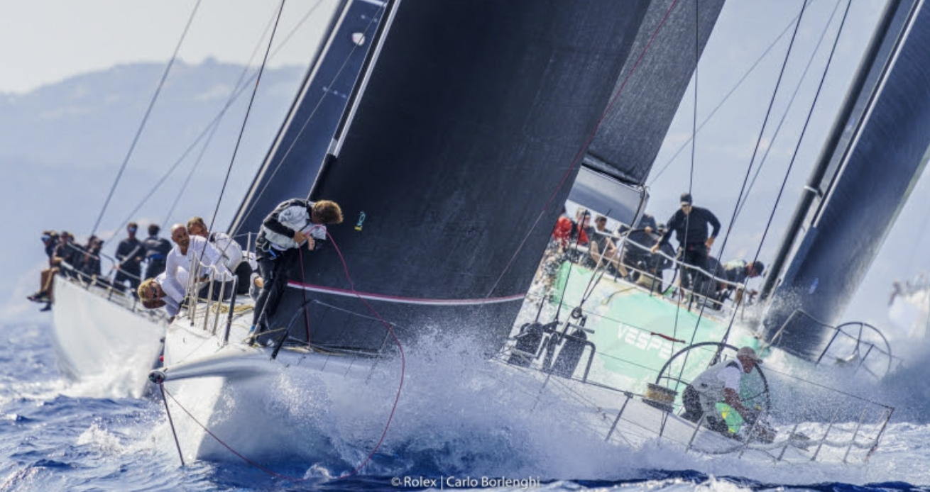 Cannonball leading the Mini Maxi 1 fleet, and leader of the provisional general classification, Maxi Yacht Rolex Cup 2021 Photo by Carlo Borlenghi